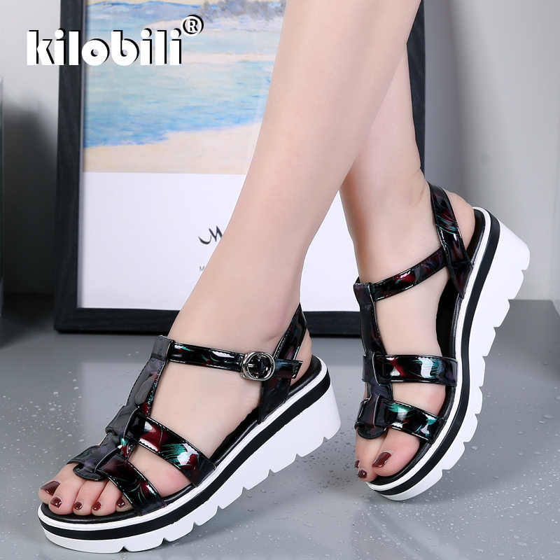 8a4b689dc60 kilobili 2019 Summer Women Sandals Black Flat Platform Sandals Women Wedge  Beach Flip Flops Ladies Flat