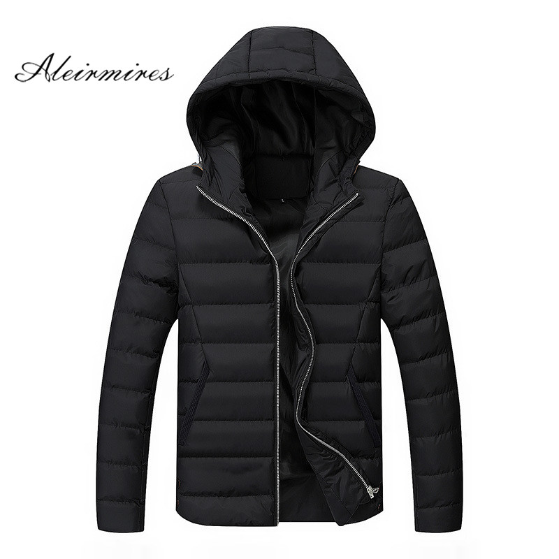 Aleirmires 2017 Men Warm Winter Jacket Parkas Casual Hooded Slim Fit Thick Cotton Padded  Plus Size 4Xl Male Coat Outwear free shipping winter parkas men jacket new 2017 thick warm loose brand original male plus size m 5xl coats 80hfx