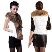 2016 women's fur faux fur vest turn-down collar raccoon fur outerwear sweater vest