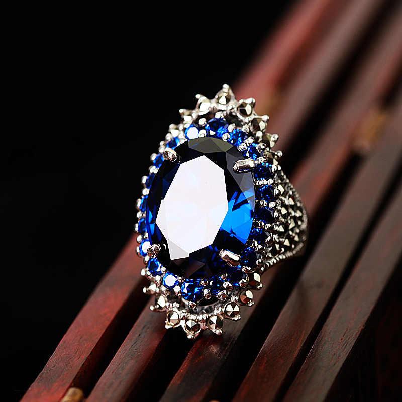 MOONROCY Vintage Rood Blauw Zilver Kleur Ringen Crystal Party CZ Ring voor Vrouwen Gift Hyperbole Dropshipping Sieraden Groothandel