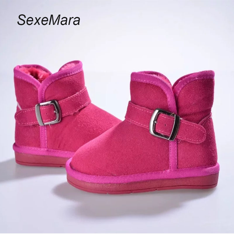 SexeMara 2017 New Winter For Child Kid Girl Boy Snow Boots Comfort Thick Antislip Short Boots Genuine Leather Fur one Shoes baby boots winter boy snow boots brand newborn leather baby boots for girl baby shoes infant kid shoes first walkers moccasins