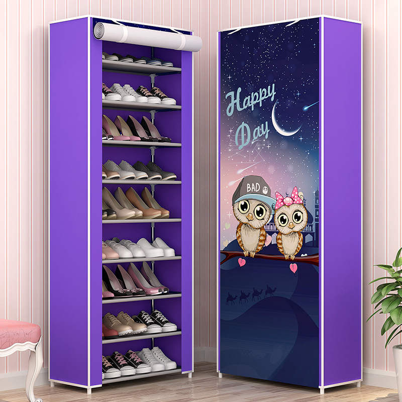 Image 4 - Large Capacity Shoes Storage Cabinet Double Rows Shoes Organizer Rack Home Furniture DIY Dust proof Shoes Shelves Space Saver-in Shoe Cabinets from Furniture
