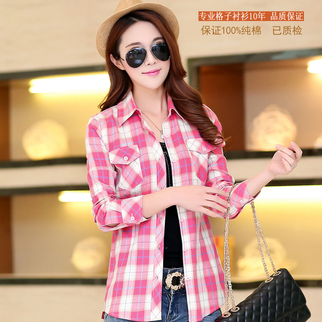2016 Spring New Casual Shirt Blouses Plus Size Women Clothing 100%Cotton Long Sleeve Plaid Shirt Women Tops Blusas 8Colors Women Shirts