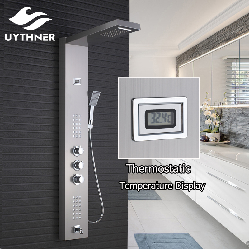 Uythner Wholesale And Retail Promotion Thermostatic Waterfall Rain Shower Panel Shower Column Jets Tub Spout Shower Tap цена 2017