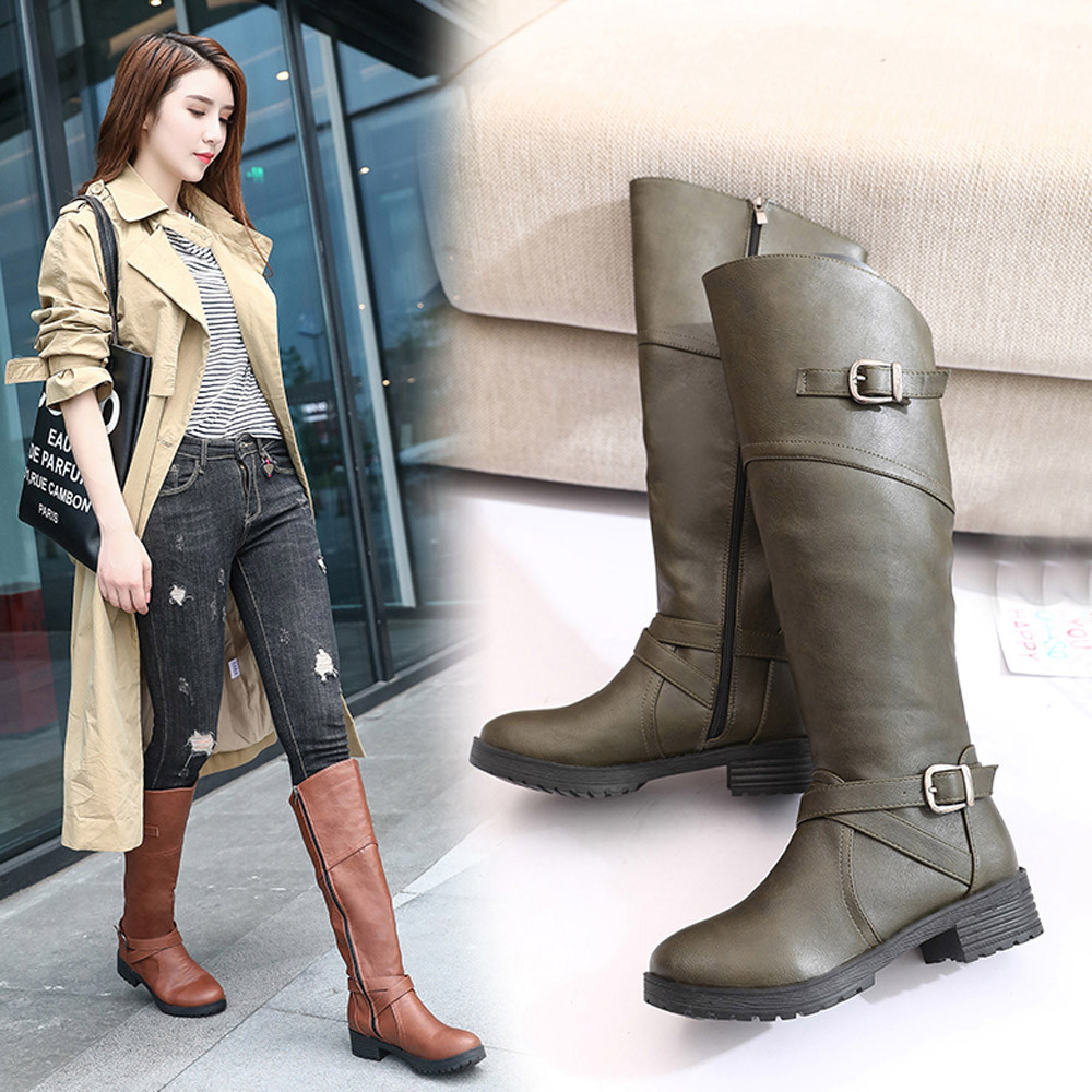 Zapatos Cuero Moda Altas brown green 2018 Black La 16 Para De Por Rodilla Ag Otoño Martin Muslo Botas Encima Mujer OtrFwnqYt
