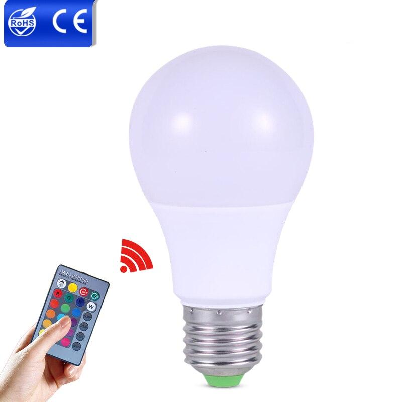rgb led bulb light e w w w led dimmable bub multiple colors changeir remote controller light rgb lampada de led para casa