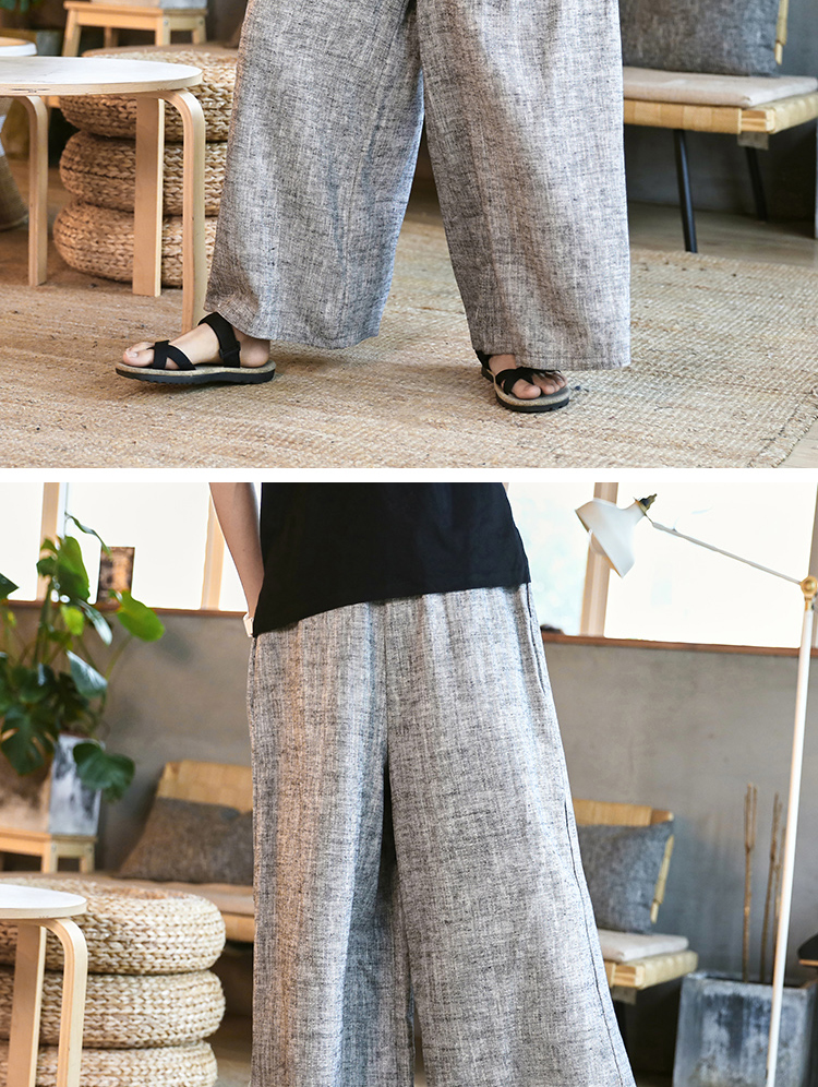 Sinicism Store Man Cotton Linen Wild Leg Pant Men Casual Stripe Straight Flare Trousers 2020 Male Traditional Pants Trousers 47