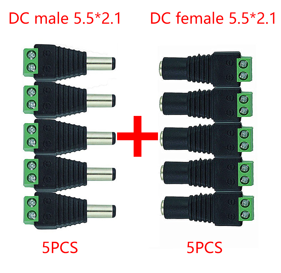 <font><b>5.5mm</b></font> x 2.1mm Female Male <font><b>DC</b></font> <font><b>Power</b></font> Plug Adapter for 5050 3528 5060 Single Color LED Strip and CCTV Cameras image