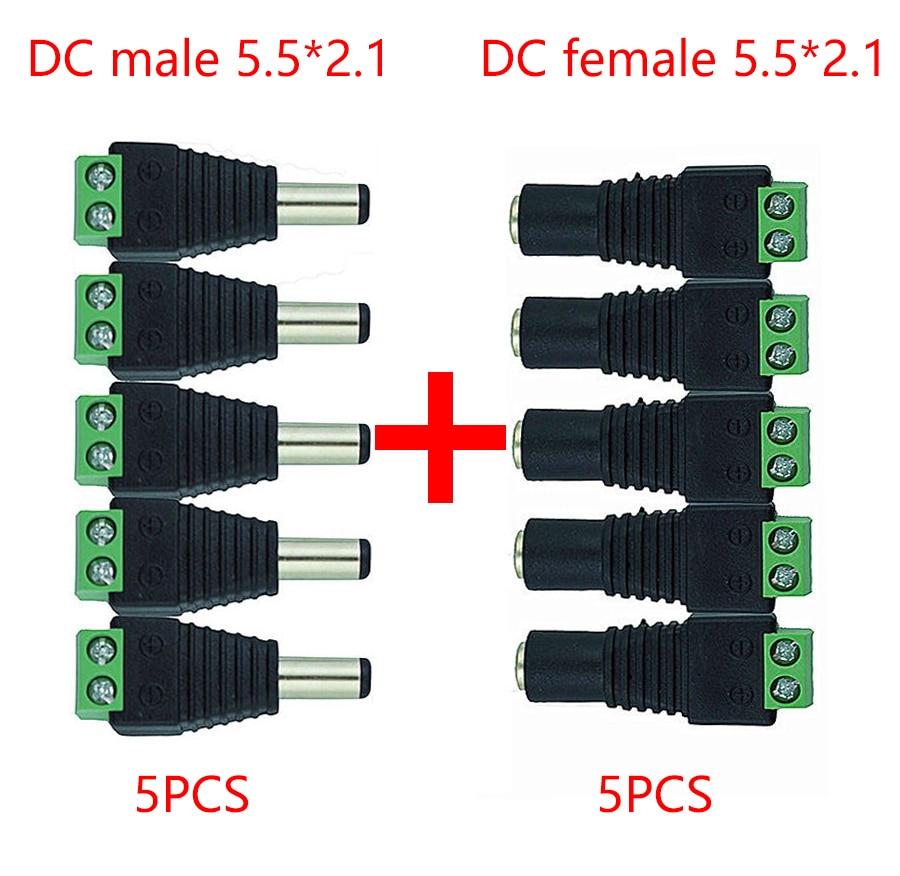 Адаптер питания постоянного тока 5,5 мм x 2,1 мм с женским и мужским разъемами для одноцветных светодиодных лент 5050 3528 и камер видеонаблюдения