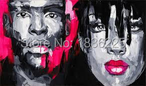 Free Shipping Hand Painting Oil Painting Painted Face Of couple woman and man Decoration Painting  Modern Wall Painting