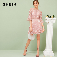 SHEIN Flounce Sleeve Lace Overlay Dress Spring Summer Dress 2019 Romantic High Waist Pink Solid Stretchy A Line Dresses