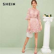 SHEIN falbany rękaw koronkowy gorset sukienka wiosna lato sukienka 2019 romantyczny wysokiej talii różowy jednokolorowy elastyczny linii sukienki