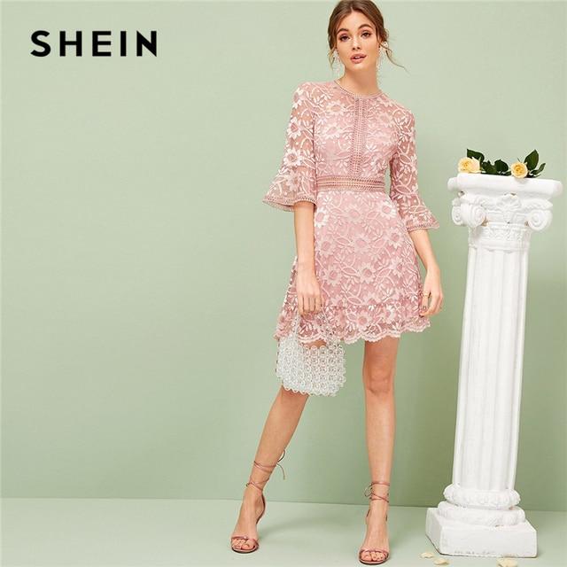 SHEIN vestido de primavera verano de encaje con manga con volantes, traje romántico de color rosa liso elástico con cintura alta, 2019