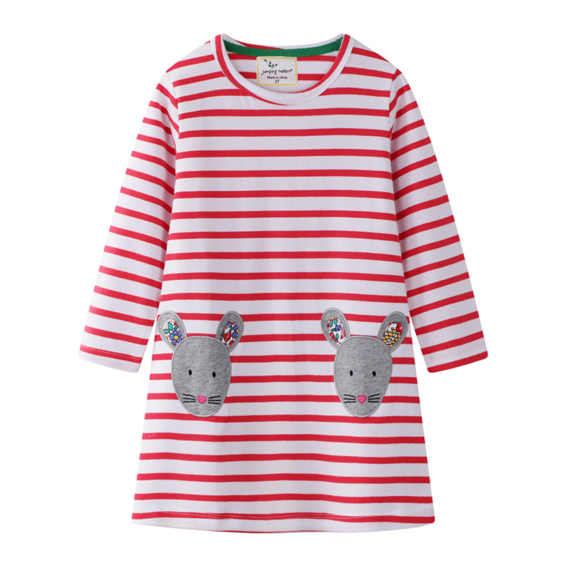 Kids Spring Cartoon Dress Cute Animals Printed Baby Girls Long Sleeve Princess for Children Summer Clothes