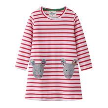 Kids Spring Cartoon Dress Cute Animals Printed Baby Girls Long Sleeve Cartoon Princess Dress for Girls Children Summer Clothes