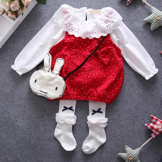 2016 marca de la camiseta + vestido de la correa vestido de 2 unids recién nacido niñas ropa bebé gils dress1 año de cumpleaños niñas vestido de lunares rojos vestido