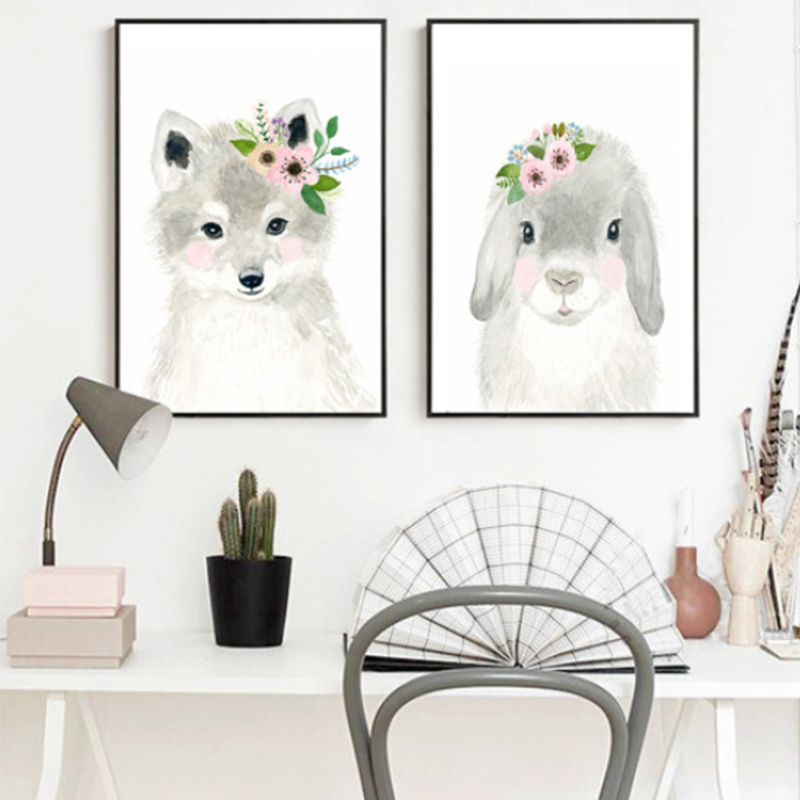 New Fox Hedgehog Animal Posters and Prints Canvas Art Painting Wall Art Nursery Decorative Picture Nordic Style Kids Decoration in Painting Calligraphy from Home Garden