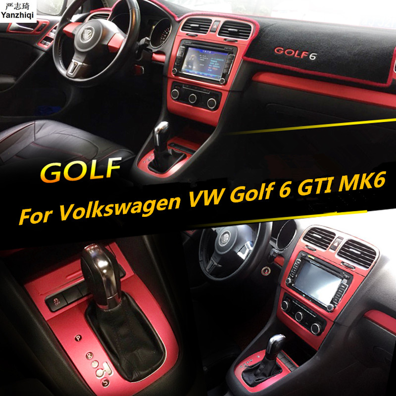 For Volkswagen VW <font><b>Golf</b></font> <font><b>6</b></font> GTI MK6 Interior Central Control Panel Door Handle Carbon Fiber <font><b>Stickers</b></font> Decals Car styling Accessories image