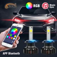OKEEN 2x автомобиля светодиодные фары rgb H1 H3 H4 H7 H8 H11 9005 9006 H13 9012 5202 светодиодный лампы приложение Bluetooth Управление Multi-цвет 50 W 7600LM
