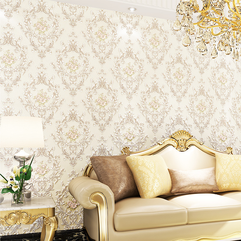 beibehang European non-woven wallpaper luxury 3D three-dimensional Damascus warm living room wallpaper beibehang warm pink girl room wallpaper children s room non woven three dimensional love childrens clothing shop wallpaper