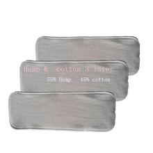 3 слоя Органическая конопля хлопок вставка для ребенка ткань пеленки подгузник, 55% Конопля 45% хлопок 10 шт/партия