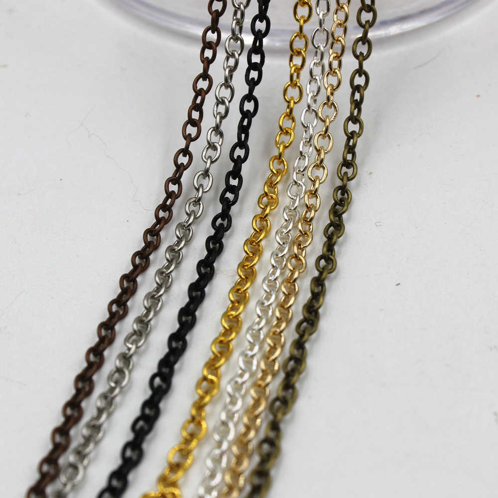 GHRQX Hot Sell 2 Meters/lot 06 (2*3mm)  Iron chain Silver/gold/bronze necklace chains Fitting For make  necklace bracelets