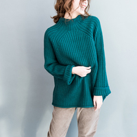 Casual Retro Loose Baggy Batwing Sleeve Coltrui Jumpers Ladies Top Femme Comfort Thick Knit Green Sweaters Women Autumn Pullover