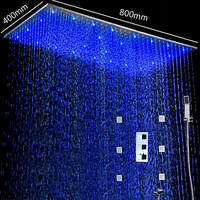 Shower Faucets 400*800MM Ceiling Large Rainfall LED Shower Panel 2 Inch Massage Body Jets Thermostatic Shower Set