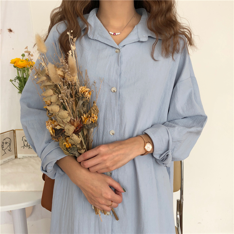 Vintage autumn Long Dress long Sleeve shirt turn down collar woman Lady loose shirt Casual Fashion maxi Dress cotton blue white 4