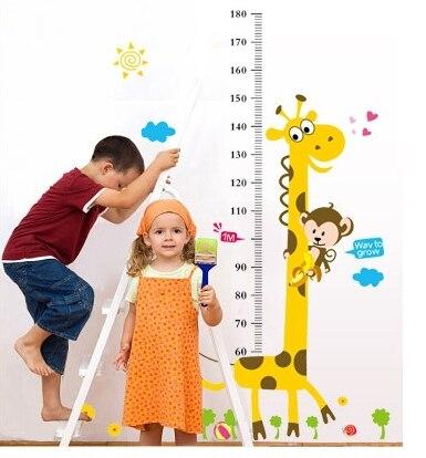 Kids Height Chart Wall Sticker home Decor Cartoon Giraffe Height Ruler Home Decoration room Decals Wall Art Sticker wallpaper