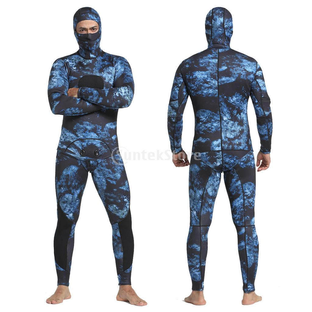 Mens Spearfishing Wetsuits Two-Piece 3MM Neoprene Full Body Wetsuit Jumpsuit for Diving Snorkeling Swimming Freediving women s wetsuit 3mm premium neoprene diving suit full length snorkeling wetsuits full body