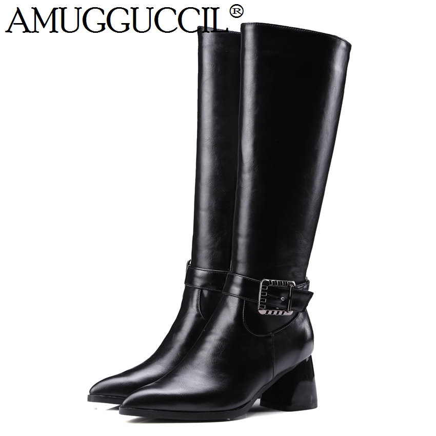 2017 New Plus Big Size 32-43 Black Yellow Zip Buckle Fashion Knee High Autumn Winter Lady Females Girls Womens Boots X1605 brand new fashion black yellow women knee high cowboy motorcycle boots ladies shoes high heels a 16 zip plus big size 32 43 10
