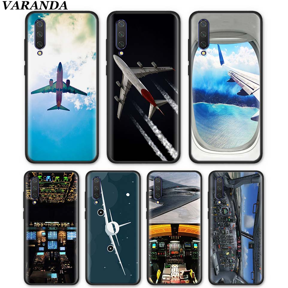 <font><b>Amazing</b></font> Airplane Airplane Cockpits Silicone Case for <font><b>Xiaomi</b></font> Mi A1 A2 Lite 5X 6X 9T CC9 CC9E Poco F1 Black Soft TPU Cases Coque image