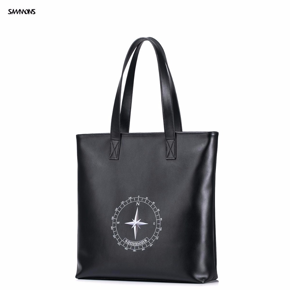 ФОТО 2017 New SAMMONS Brand Design Fashion Compass Embossing PU Leather Men Shoulder Bag Casual Tote Bags