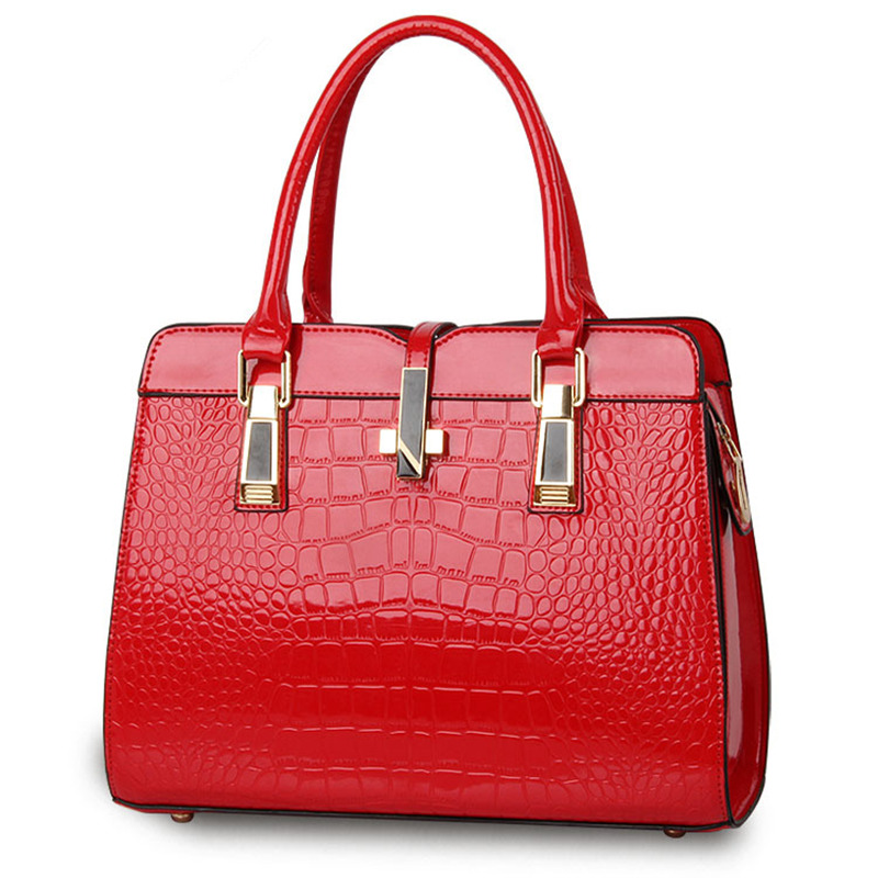 Pu À Casual Crosss Lady Rouge Crocodile Office Motif Bandoulière Femmes Sac Main R5qFcwId