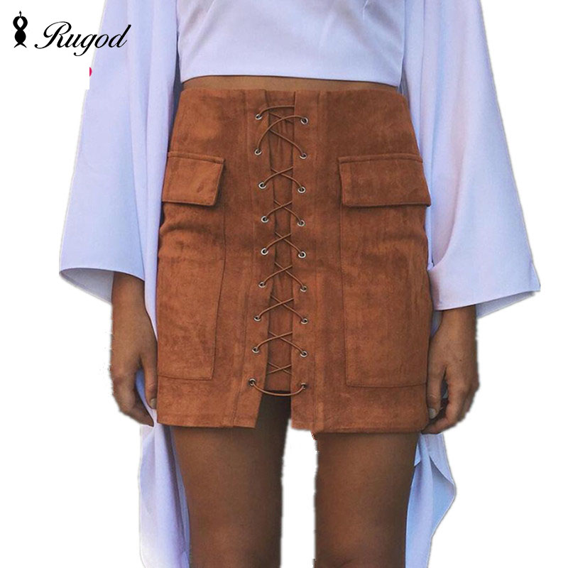 6746c169d2 Women Vintage High Waist External Pocket Tight Suede Lace Up Skirt Autumn  Winter Thick Pencil Skirt Preppy Mini Skirts saia-in Skirts from Women's  Clothing ...