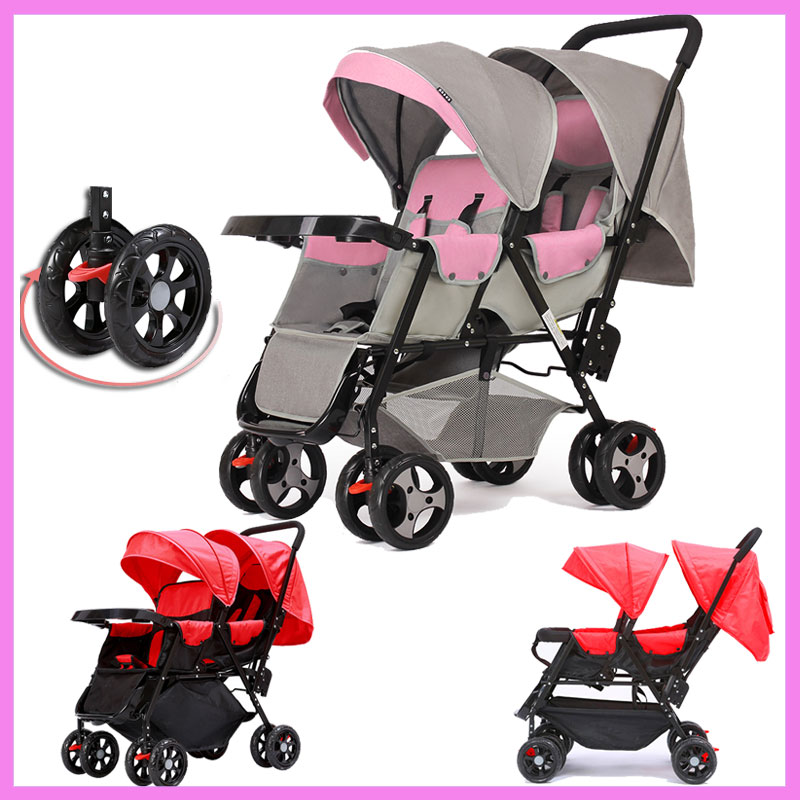 360 Degree Omni-directional Wheels Twins Baby Stroller Baby Carriage Car Light Double Stroller for Twins Child Trolley Pushchair babyboom off road twins baby stroller shock pneumatic wheels double baby stroller