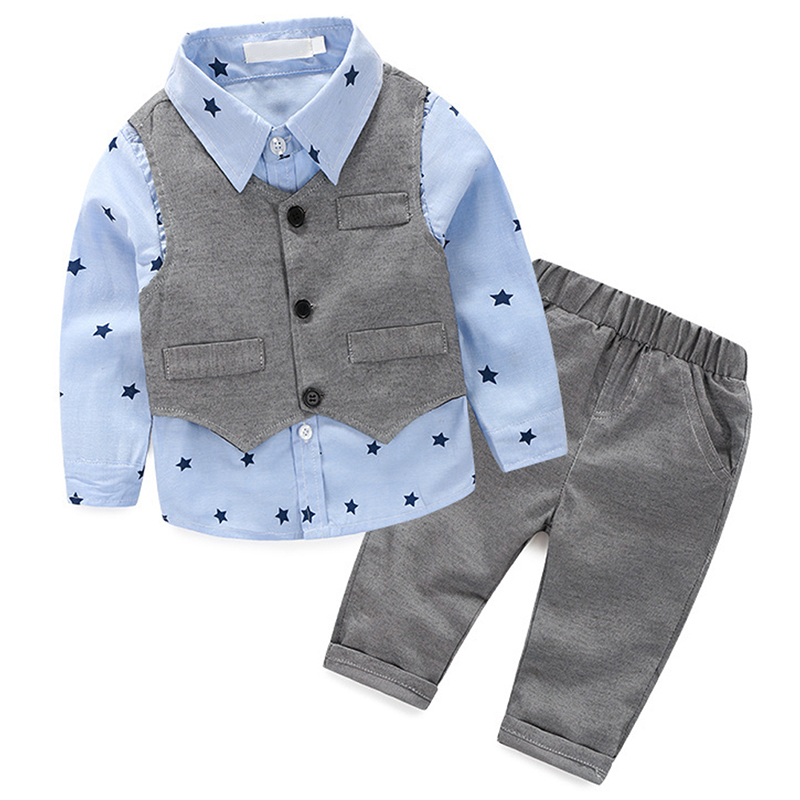 Kid 3pcs Clothes Suit Baby Boys Long Sleeve T-shirt Top + Vest +Pants Trousers Outfit Children Gentleman Clothing Set