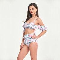 SUNCREST 2018 Bandeau Bikini Set Double Ruffle Swimwear Women Sexy Off Shoulder High Waist Swim Wear