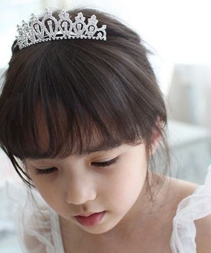 Retro Classic Romantic Headwear Baby Girl Kid Rhinestone Crown Bridal Tiara Hair Comb Wedding Birthday Party Princess Costume