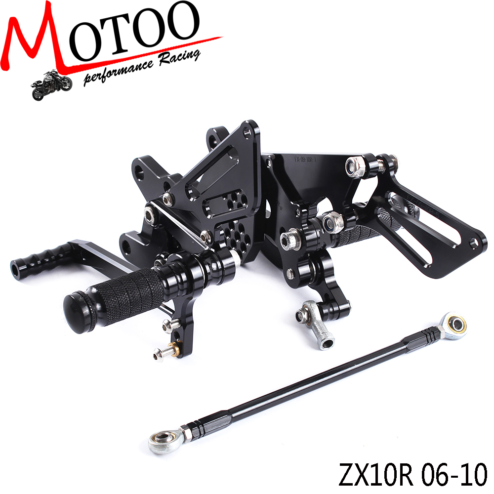 Motoo - Full CNC Aluminum Motorcycle Adjustable Rearsets Rear Sets Foot Pegs For KAWASAKI ZX10R ZX-10R 2006-2010
