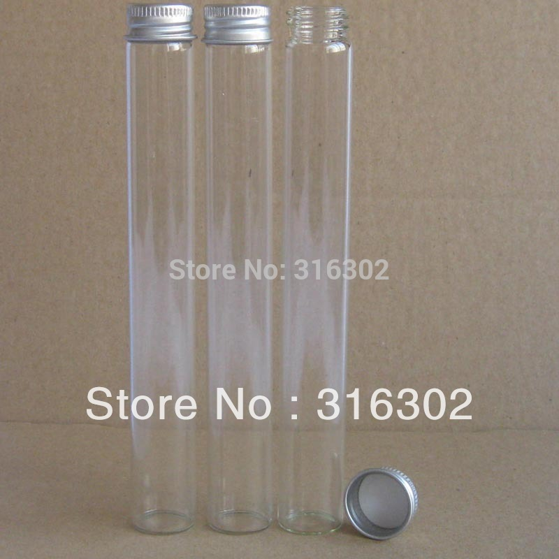 20 X 45ml Empty Clear Screw Neck Glass Bottle With Aluminum Lids 45 Cc  Glass Tube Container With Aluminum  Cap Glass Vial