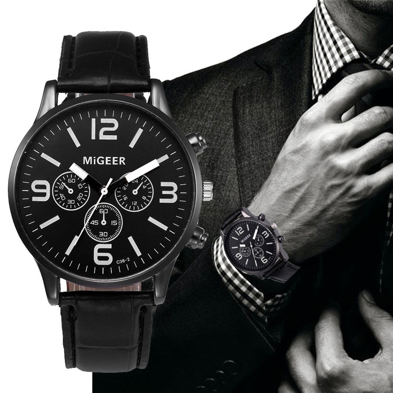 Men Watch MIGEER Business Stainless steel Watch Case Leather Band Bracelets Men Quartz Wrist Watch Relogio Masculino Gift Y 50