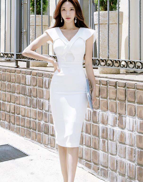 Free Shipping High Quality  2018  Summer New Arrival  Sexy  V Collar  Sleeveless  Solid Color Woman Slim Pencil Dress
