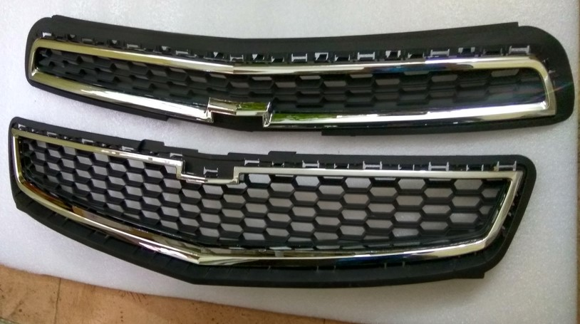 For Chevrolet Malibu 2013 Silver Upper Lower Front Bumper Mesh Grille Grill 2PCS
