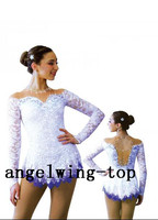 white ice skating wear girls crystals figure wear for women competition skating wear custom size free shipping