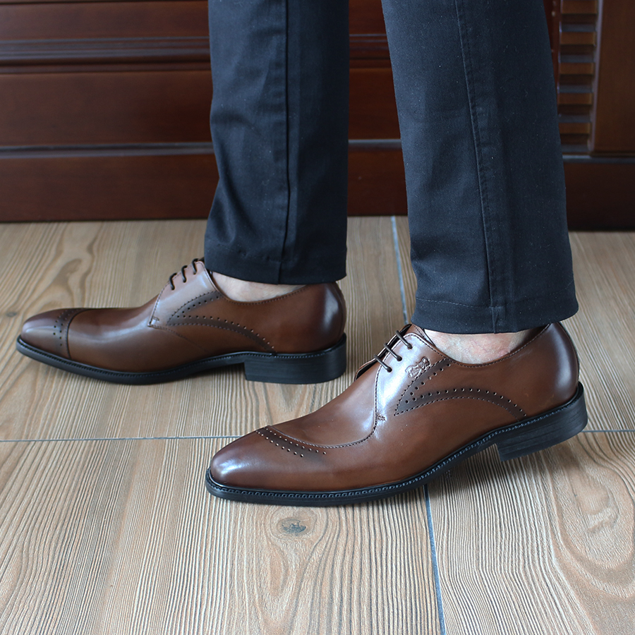 ФОТО FELIX CHU 2017 Genuine Leather Men Shoes Brogues Zapatos Hombre Business Men Oxfords Brown Dress Suit Shoes Flats Heel 1815-D3
