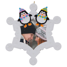 Resin adorable hand painted snowflake penguins personalized picture frame ornament that use cadre photo for gifts home car decor