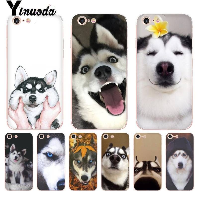 Yinuoda For iPhone 7 6 X Case Husky cute Coque Shell Phone Case for iPhone 8