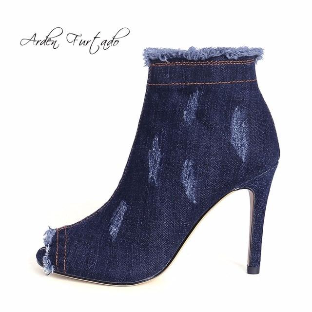Arden Furtado mode neue 2017 stiefel frühling herbst Blau jeans stiefel 2017 f7b614